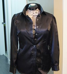 Womens suit Jacket shirt and pants. Suit outfit made with lovely black satin fabric. Button down shirt pants have side zipper. Suit Jackets For Women, Suits For Women, Clothes For Women, Handmade Clothes, Satin Fabric, Black Satin, Shirt Jacket, Button Down Shirt, Leather Jacket