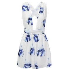 Yoins White Chiffon Criss Crossed Back  In Floral Print Playsuit (24395 IQD) ❤ liked on Polyvore featuring jumpsuits, rompers, dresses, romper, playsuit, shorts, black, summer romper, white jumpsuit and floral rompers