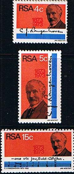 South Africa 1973 C J Langenhoven Set Fine Mint                    SG 335 7 Scott 395 7          Condition Fine MNH    Only one post charge applied