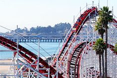 Giant Dipper Roller Coaster at Santa Cruz Beach Boardwalk, classic summer place to go in Northern California.  Ahh the memories :)
