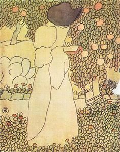Lady in her garden - Jozsef Rippl-Ronai - Cloisonnism