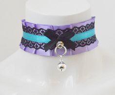Kitten play collar - Eternal light - blue pastel violet and black - ddlg princess kawaii cute neko girl lolita petplay choker with bell