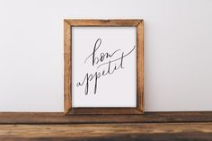 Fine art print, bon appetit, quote, hand lettered, lettering, calligraphy, kitchen, home, funny, foodie, baking, bbq, cook, cooking, gift, 8x10. Hand lettered on fine art paper. 8x10. Frame/mat/accessories/any other items in picture not included. Listing is for the print only.