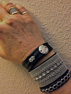 A favorite combo---my black reindeer leather and pewter Sami bracelets...