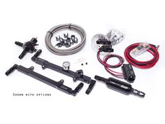 1200+ rwhp capable return fuel system with efficient hose routing. The rails are in a series installation with the fuel pressure regulator AFTER the rails.  We recommend this setup for centrifugal and turbo setups.  Entire system is E85 and race gas compatible.