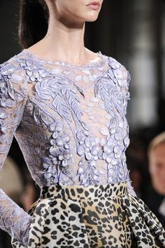 Temperley London Spring 2014 purple lace and leopard 1