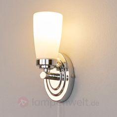 Bad-Wandleuchte-Leonore-Glas-Chrom-Wandlampe-Badezimmer-Zugschalter-IP44-LED-E14