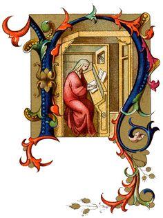 Illuminated Lettering :: Letter N