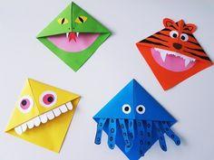 Lesezeichen basteln: Monster und Tier Lesezeichen falten mit Kindern Knitting TechniquesKnitting For KidsCrochet ProjectsCrochet Scarf Origami Diy, Origami Folding, Origami Design, Origami Paper, Oragami, Corner Bookmarks, Bookmarks Kids, Origami Instructions, Diy