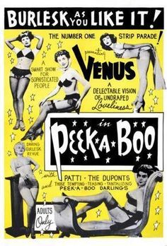 Peekaboo 1953 Burlesque poster Metal Sign Wall Art 8in x 12in