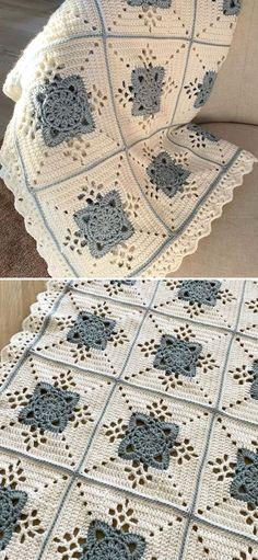 Granny Square Crochet Pattern, Afghan Crochet Patterns, Crochet Motif, Crochet Designs, Crochet Hooks, Crochet Baby, Free Crochet, Knitting Patterns, Crochet Square Blanket