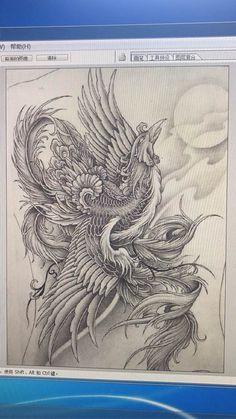 Japanese Pheonix Tattoo, Japanese Dragon Tattoos, Japanese Tattoo Art, Japanese Tattoo Designs, Small Phoenix Tattoos, Phoenix Tattoo Design, Body Art Tattoos, Tattoo Drawings, Sleeve Tattoos
