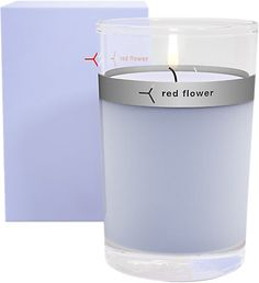 Red Flower, Icelandic Moonflower Petal Topped Candle
