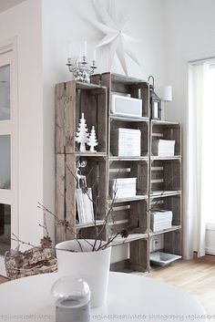 DIY; Natural! Fruit/ Potato Crates into a Bookcase. Here they are attached in…