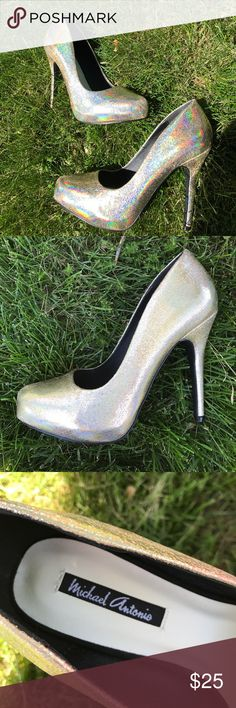 Gold Heels Semi-holographic super shiny gold heels. Super cute. Never worn just tried on. Great for prom or homecoming 😊💃🏻 Michael Antonio Shoes Heels