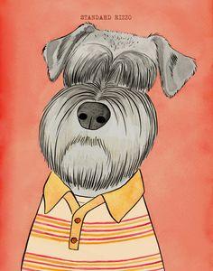Mad Men Dogs: Stan Rizzo Art Print Schnauzer