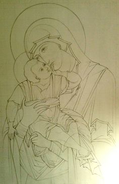 """Step-by-step: Documenting Anthony Gunin's creation of The Most Holy Theotokos """"Glykophilousa"""" icon — Steemit Religious Icons, Religious Art, Cartoon Sketches, Art Sketches, Paint Icon, Medieval Tapestry, Jesus Art, Byzantine Icons, Catholic Art"""