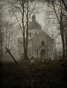 Poland church and graveyard.