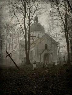 Poland church and graveyard.