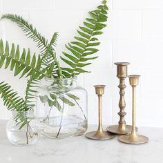 Ferns Boston Ferns, Instagram Feed, Instagram Posts, White Quartz, Glass Vase, Candle Holders, House Design, Candles, Home Decor