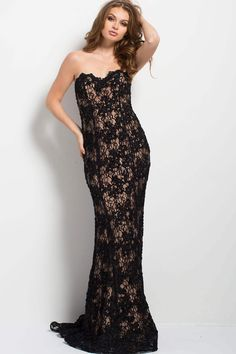 197de08ff7a 45192 Beaded Lace Sheath Dress by Jovani at CoutureCandy.com Black Lace Gown