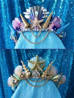 One Standard Custom Mermaidazzle Crown Shell Centerpieces, Hanging Centerpiece, Mermaid Crown, Mermaid Headpiece, Ariel The Little Mermaid, Diy Hair Accessories, Fantasy Jewelry, Perfect For Me, Tiaras And Crowns