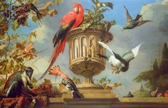 Scarlet Macaw perched on an urn by Melchior de Hondecoeter (1636 - 1695)