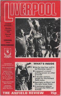 Vintage Football (soccer) Programme - Liverpool v Middlesborough, 1977/78 season.