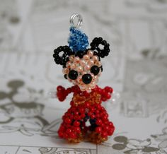 Miniature Seed Bead Doll Figure Disney Sorcerer Mickey Mouse by JennyLouCreations, $15.00