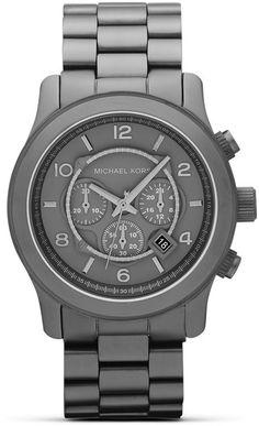 Michael Kors Michael Mens Gunmetal Matte Runway Watch 45mm in Silver for Men (gunmetal)