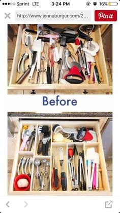 Cut plywood to separate things in your drawers...horizontal or diagonal