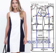 VESTIDO TUBINHO DUAS CORES -266 - Moldes Moda por Medida