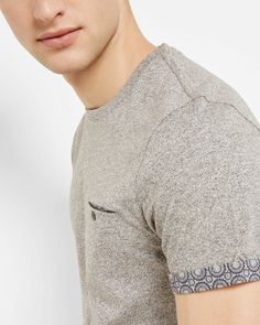 Woven geo print T-shirt - Light Grey | Tops & T-shirts | Ted Baker ROW