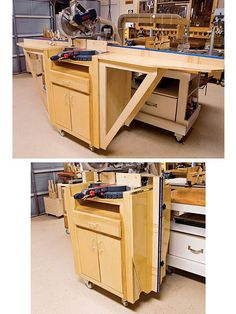 Woodworking Miter Saw To call Ed Walker an avid reader of woodworking publications would be an understatement. The Texan creatively adapted nearly everything in his shop from book and magazine plans. Woodworking Store, Woodworking Workbench, Woodworking Workshop, Woodworking Projects, Wood Projects, Popular Woodworking, Mitersaw Station, Diy Workbench, Rolling Workbench