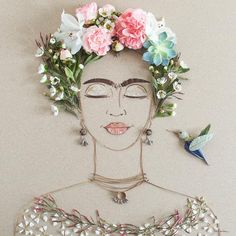"""Blooming Frida"" Flower Face Print by Vicki Rawlins sistergolden.com"