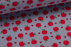 Jersey - Äpfel mit kleinen Herzchen - Hellblau von alles-fuer-selbermacher auf DaWanda.com