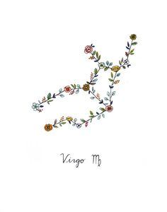 Zodiac VIRGO Floral Constellation Print Virgo Zodiac Signs -Zodiac floral constellation print of my original Copic marker and calligraphy illustration. -Print size is 5 Nature Tattoos, Body Art Tattoos, Small Tattoos, Art Virgo, Pisces Zodiac, Zodiac Floral, Zodiac Signs Images, Zodiac Sign Tattoos, Virgo Tattoos