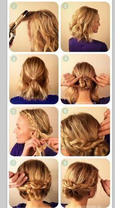 side braid bun - simple easy quick- easy office hair styles