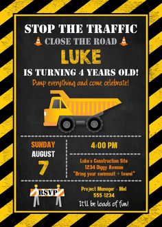 Great Ideas for a 4 year old's Construction Birthday Party - awesome invitations, signs, food, decor, cake, and favors
