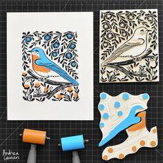Bluebird - Original Print by Andrea Lauren