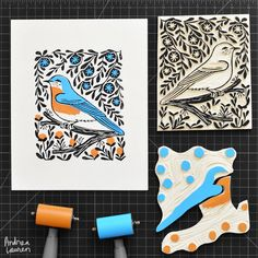 Bluebird - Original Print by Andrea Lauren