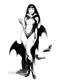 One of the most longest lasting icons of horror is the comic book character Vampirella. She may have fallen on hard times of late--with publisher Harris instituting all sorts of arbitrary changes in a desperate attempt to reverse the trend of ever-dwindling sales figures--but some things stay pretty much the same. Here's a drawing of Vampirella by the first artist to ever paint her 40 years ago, for the cover of