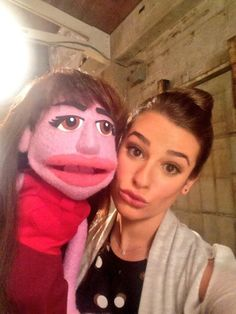 Lea Michele and puppet Rachel