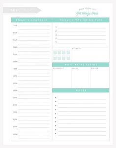 Organizational Printables to Streamline Your To-Do Lists, Your Schedule, Your Meal Plans—Your Life Get organized with this FREE printable daily to do list! Planner Free, To Do Planner, Planner Template, Planner Pages, Life Planner, Weekly Planner, Printable Planner, Free Printables, Planner Ideas