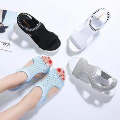 071d11595190 PINSEN Women Sandals 2019 New Female Shoes Woman Summer Wedge Comfortable  Sandals Ladies Slip-on Flat Sandals Women Sandalias