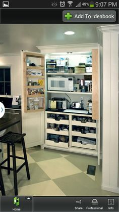 Kitchen idea beside the fridge