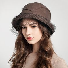 Fashion wool bucket hat with veil for women bowler hats