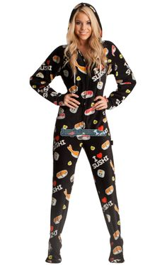 71f6fb998c Hot Sushi Hooded Adult Pajamas. These fun one piece pjs feature a hoodie