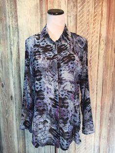 CAbi Python Print Blouse Blue Purple Black Semi Sheer Button Up #609 $89 M EUC! #CAbi #Blouse