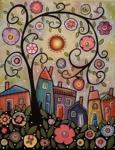 Collage Tree Village 11x14 ORIGINAL CANVAS PAINTING houses FOLK ART Karla Gerard #FolkArtAbstractPrimitive